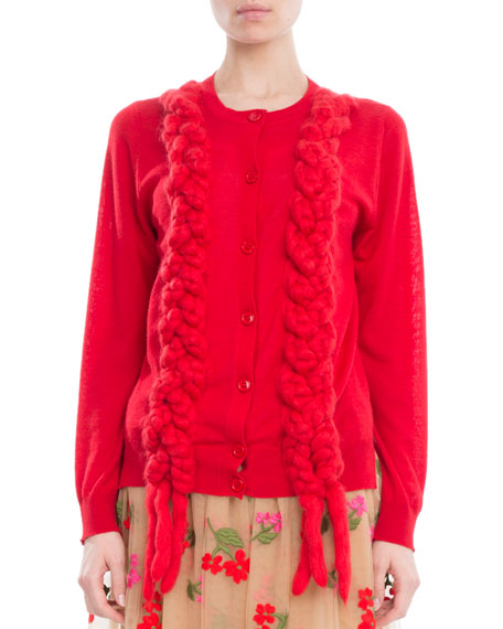Simone Rocha  BRAIDED PLAIT CREWNECK CARDIGAN