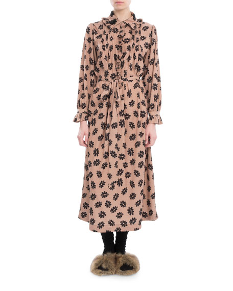Simone Rocha Floral-Print Ruffle-Trim Shirtdress