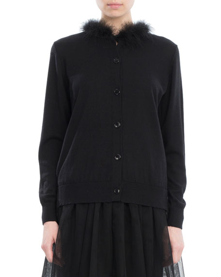 Simone Rocha Feather-Trim Merino-Silk-Cashmere Cardigan