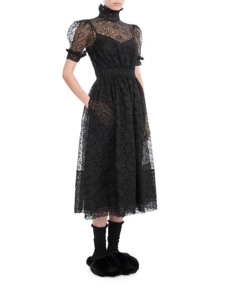 Puff-Sleeve High-Neck Lace Midi Dress, Black