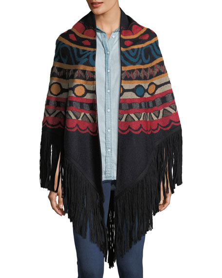 Massai Intarsia Wool-Blend Shawl Cape