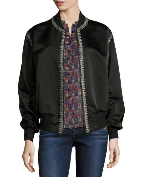 Talitha Collection Embroidered Silk Satin Reversible Bomber