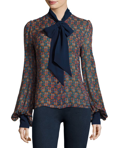 Talitha Collection Geometric-Print Tie-Neck Silk Shirt