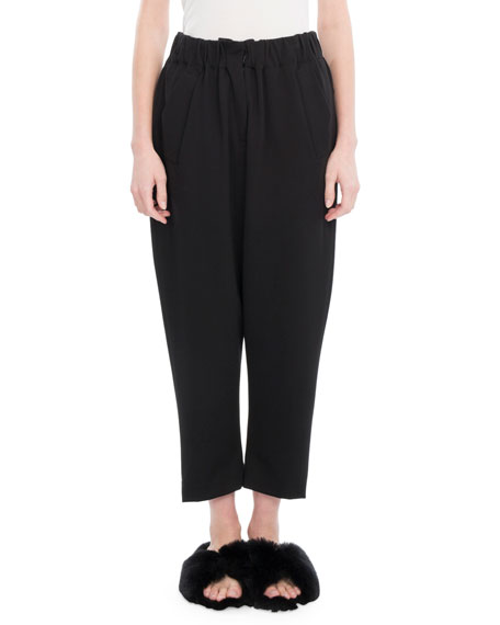 Elastic Cropped Carrot Pants