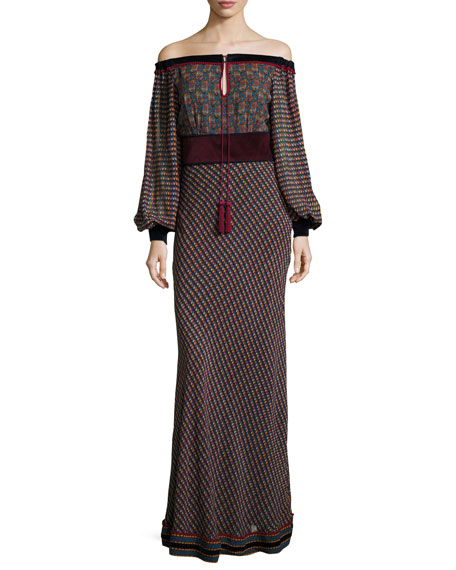 Off-the-Shoulder Printed Georgette Maxi Dress