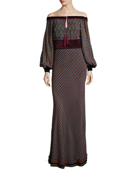 Talitha Collection Off-the-Shoulder Printed Georgette Maxi Dress