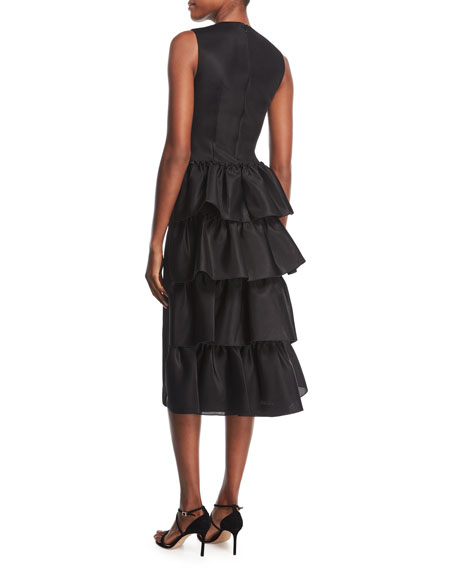 A-Line Midi Dress with Tiered Ruffles