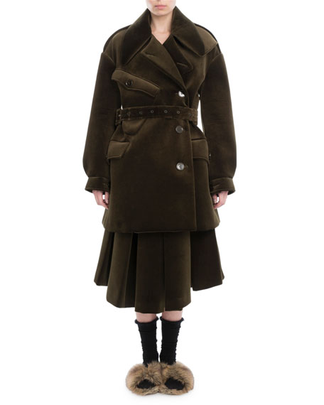 Simone Rocha Neoprene Military Pea Coat and Matching
