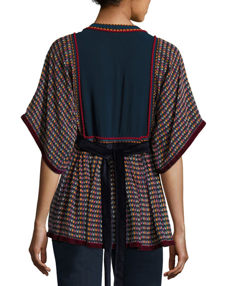 Split-Neck Tie-Back Printed Georgette Peasant Blouse