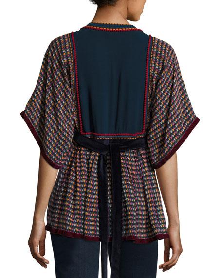 Split-Neck Tie-Back Printed Georgette Peasant Blouse