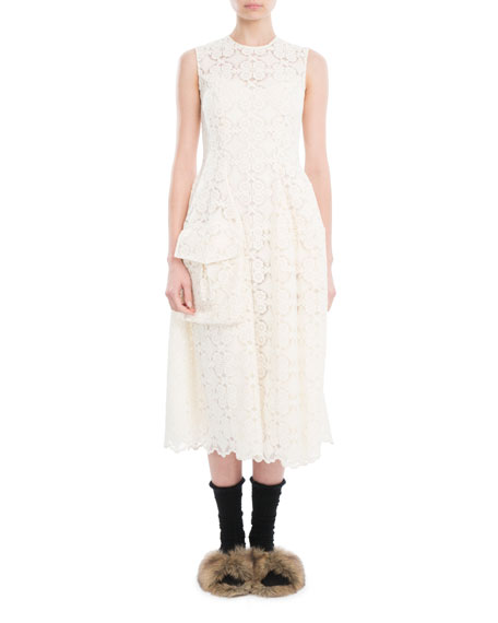 Simone Rocha Sleeveless Organdy Lace Midi Dress, Ivory
