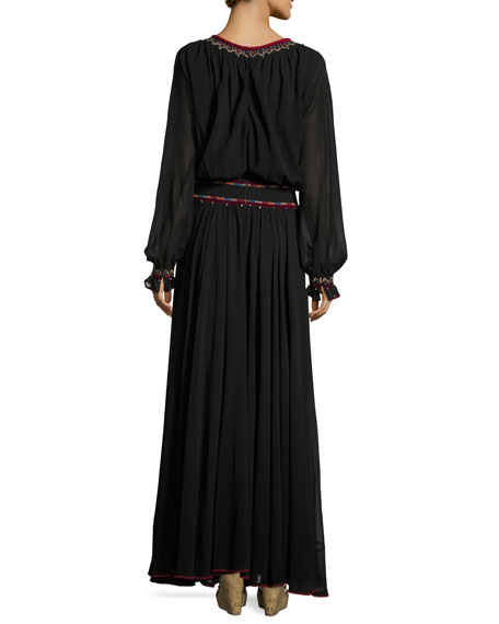 Banded-Waist Embroidered Georgette Maxi Dress