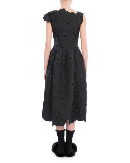 Scalloped Cap-Sleeve Midi Dress, Black