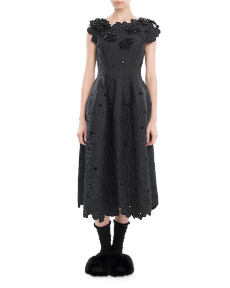 Simone Rocha Scalloped Cap-Sleeve Midi Dress, Black