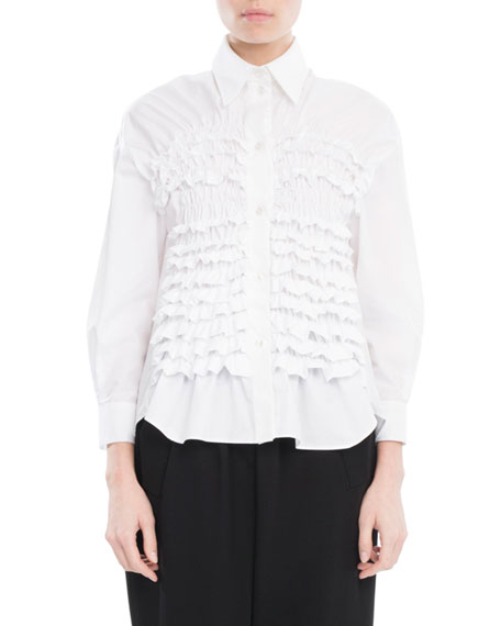 Simone Rocha Smocked Cotton Shirt