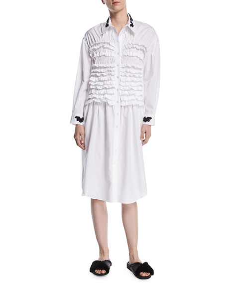 Simone Rocha Embroidered Poplin Smocked-Front Shirtdress