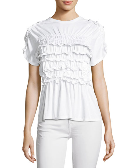 Simone Rocha Shirred Cotton Frill T-Shirt