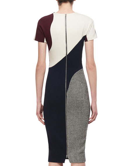 Short-Sleeve Patchwork Sheath Dress