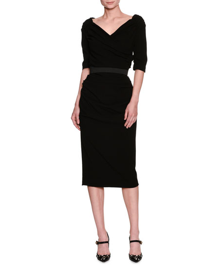 Dolce & Gabbana Ruched Elbow-Sleeve Sheath Dress, Black
