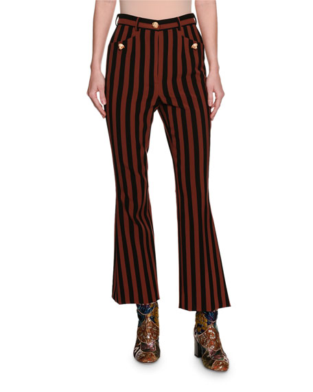 Dolce & Gabbana Striped Kick-Flare Cropped Pants with
