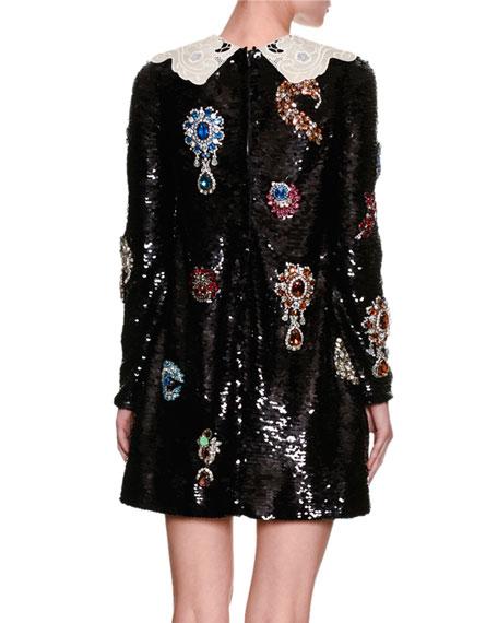Jewel-Embellished Lace-Collar Paillette Minidress, Black