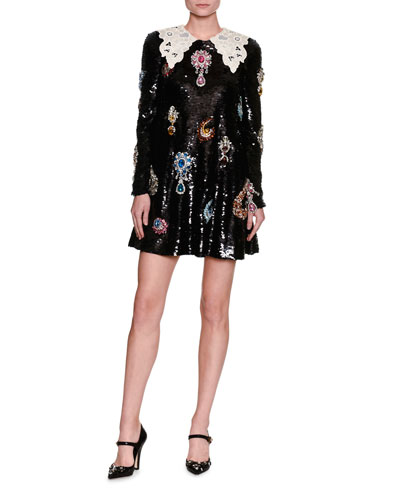 Jewel-Embellished Lace-Collar Paillette Minidress, Black