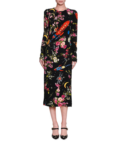 Dolce & Gabbana Rocket Ship Floral-Print Long-Sleeve Midi