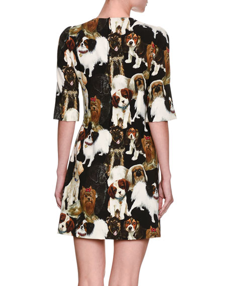 Embroidered Lap Dog Minidress, Black