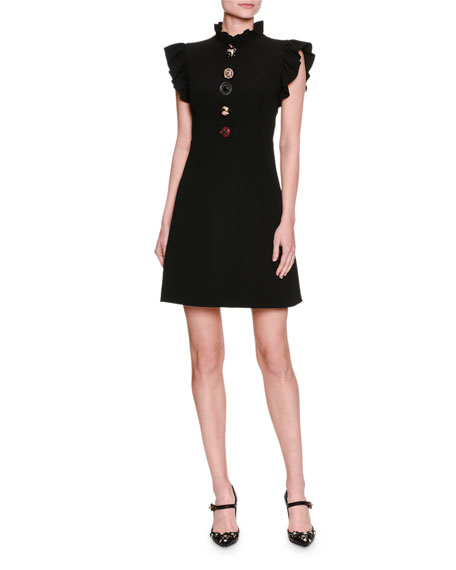 Dolce & Gabbana Jewel-Button Ruffle-Trim Minidress, Black