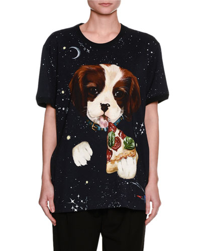Dog & Pizza Space-Print Cotton T-Shirt, Black
