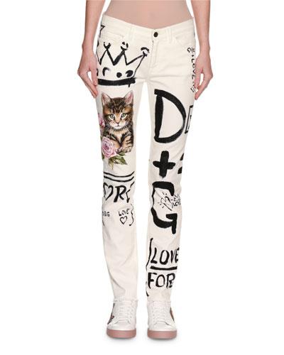 Graffiti & Cat Printed Skinny Jeans, White