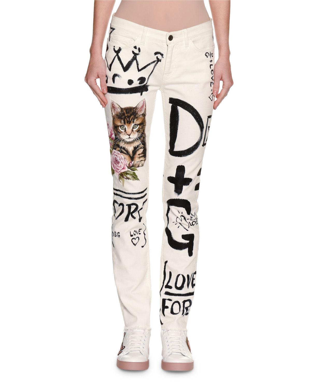2709727d024 Dolce   Gabbana Graffiti   Cat Printed Skinny Jeans