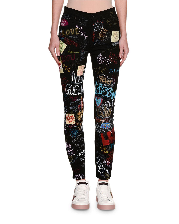 03d069d89c6cb9 Dolce   Gabbana DG Queen Graffiti-Print Skinny Jeans, Black   Neiman ...