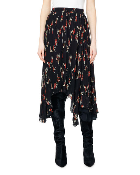 Wilny Birds of Paradise Plisse Midi Skirt