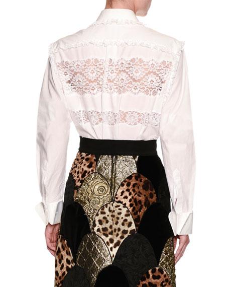Frill Lace-Inset Poplin Shirt, White