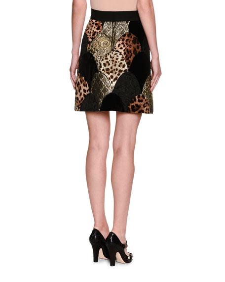 Leopard & Floral Matelasse Patchwork Miniskirt, Black