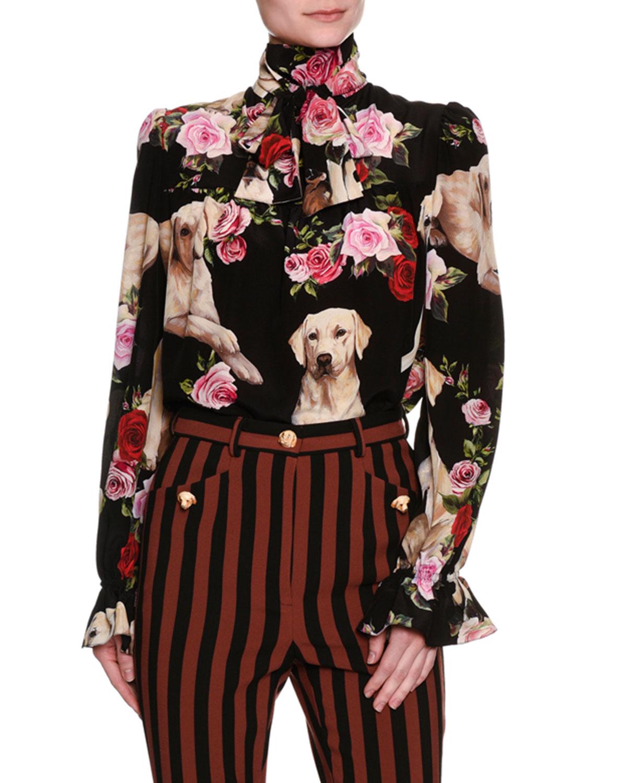 ab9af0e7 Dolce & Gabbana Floral & Golden Retriever Silk Tie-Neck Blouse, ...