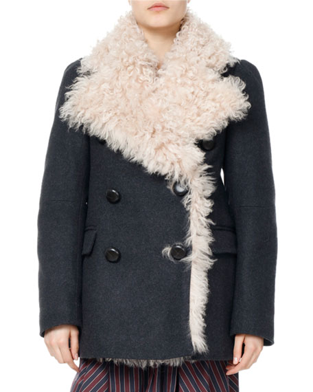 Isabel Marant Berit Shearling-Lined Pea Coat and Matching