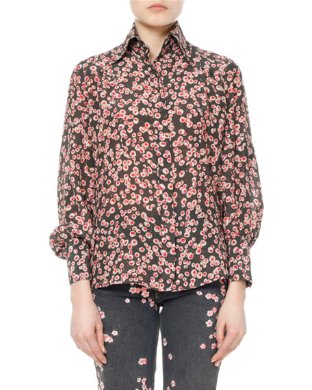 Isabel Marant Salina Floral Pansy-Print Silk Shirt and