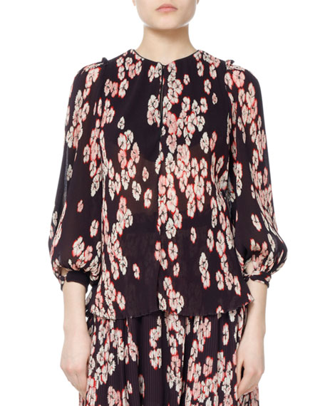 Isabel Marant Wave Cherry Blossom Georgette Top and