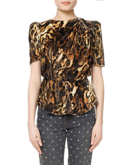 Isabel Marant Udell Leopard-Print Ruched Velvet Top and
