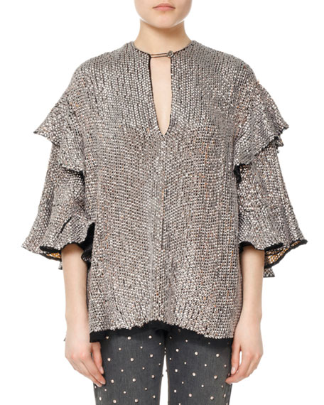 Isabel Marant Basile Sequined Viscose Ruffle Blouse