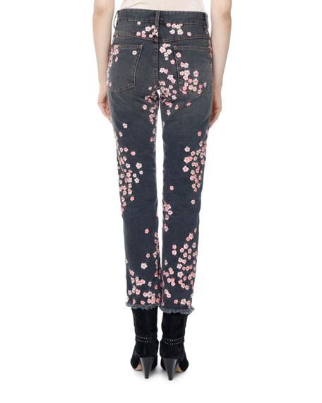 Holan Pansy-Print Slim Cropped Jeans