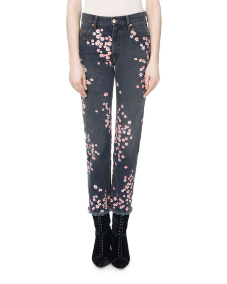 Isabel Marant Holan Pansy-Print Slim Cropped Jeans