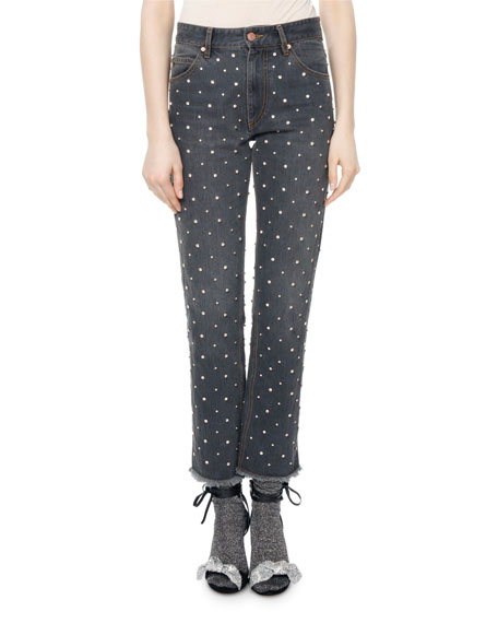 Ulano Crystal-Studded Cropped Straight-Leg Jeans