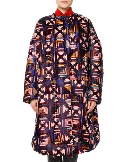 Isabel Marant Tao Southwestern Quilted Velvet Caban Coat