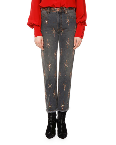 Nolan Star-Embellished Slim-Straight Jeans