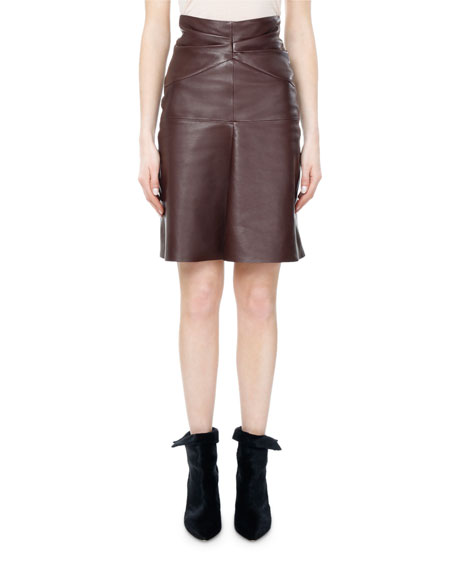 Gladys High-Waist Ruched Leather Skirt