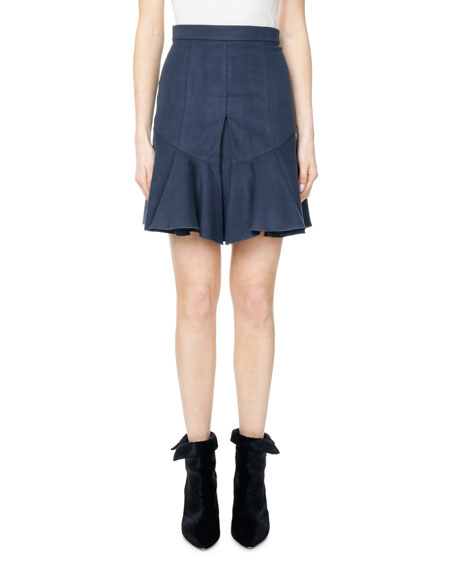Isabel Marant Parma Moleskin Pleated Flounce Skirt