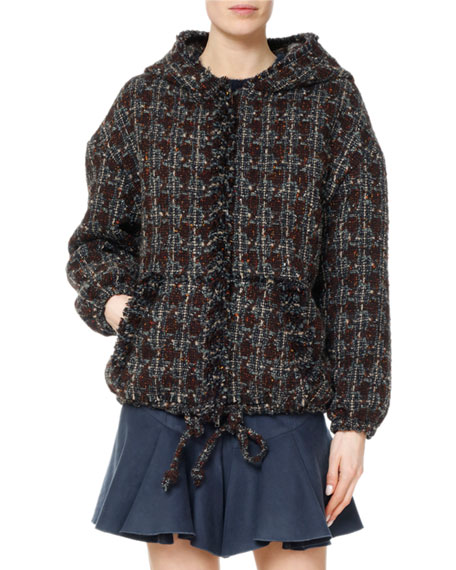 Isabel Marant Fliver Tweed Hooded Bomber Jacket